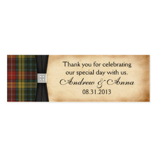 Buchanan Weathered Tartan Wedding Thank You Favor Double-Sided Mini Business Cards (Pack Of 20)