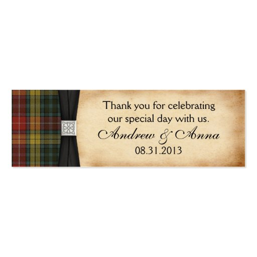 Buchanan Weathered Tartan Wedding Thank You Favor Business Card Template