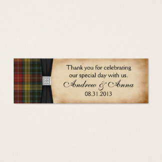 Buchanan Weathered Tartan Wedding Thank You Favor Mini Business Card