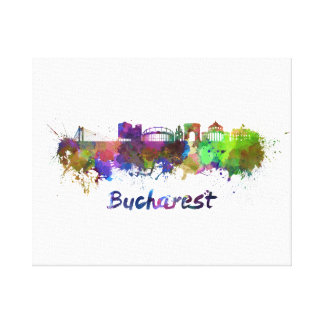 Bucharest skyline in watercolor canvas print