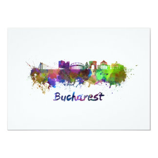 Bucharest skyline in watercolor card