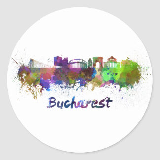 Bucharest skyline in watercolor classic round sticker