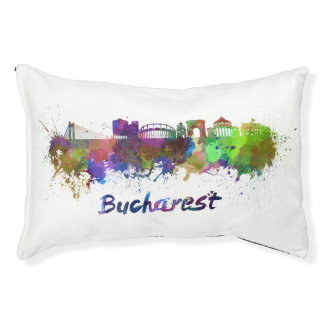 Bucharest skyline in watercolor pet bed