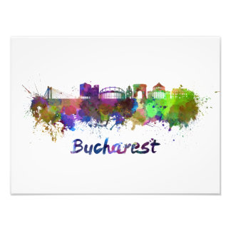 Bucharest skyline in watercolor photo print