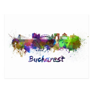Bucharest skyline in watercolor postcard