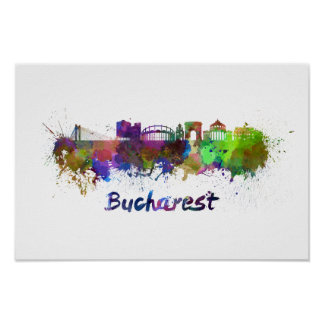 Bucharest skyline in watercolor poster