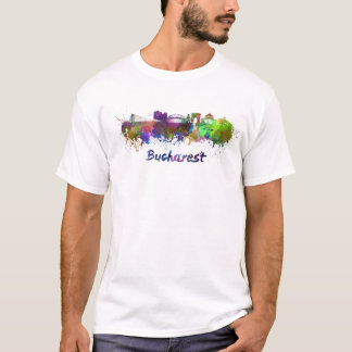 Bucharest skyline in watercolor T-Shirt