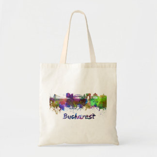 Bucharest skyline in watercolor tote bag