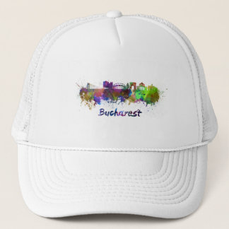 Bucharest skyline in watercolor trucker hat