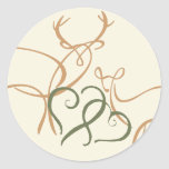 Buck and Doe in Love Envelope Seal Round Sticker