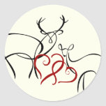 Buck and Doe in Love Envelope Seal Round Stickers