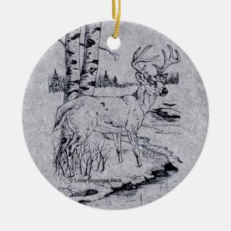 Buck Creek Round Faux Marble Ceramic Ornament
