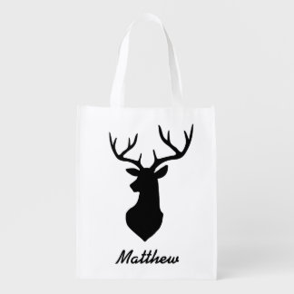 Buck Deer Head Reusable Grocery Bag