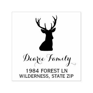 Buck Deer Head | Rustic Return Address Self-inking Stamp