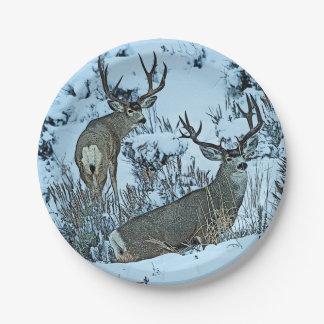 Buck deer in snow paper plate