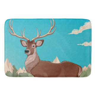 Buck Deer Mountain Scene Bath Mat