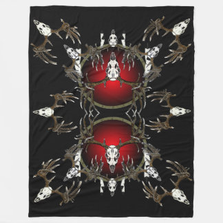 Buck deer skulls fleece blanket
