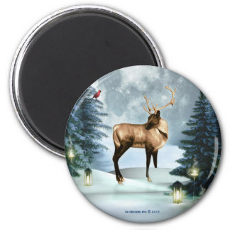 Buck Deer Winter Scene Round Magnet Decor