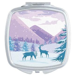 Buck Deer Winter Scene Vanity Mirror