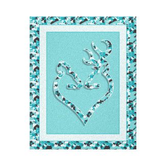Buck & Doe Camo Heart Canvas Print