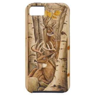 Buck & Doe in Birch Trees iPhone 5 Case