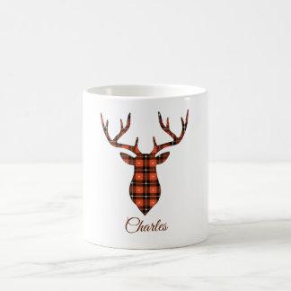 Buck Head Personalize Red and Black Plaid Coffee Mug