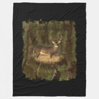 Buck In Camo- Fleece Cozy Blanket