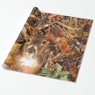 Buck in Fall Camo White Tail Deer Wrapping Paper