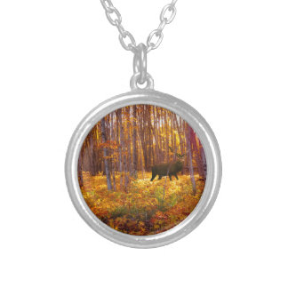 Buck in the Trees Silver Plated Necklace