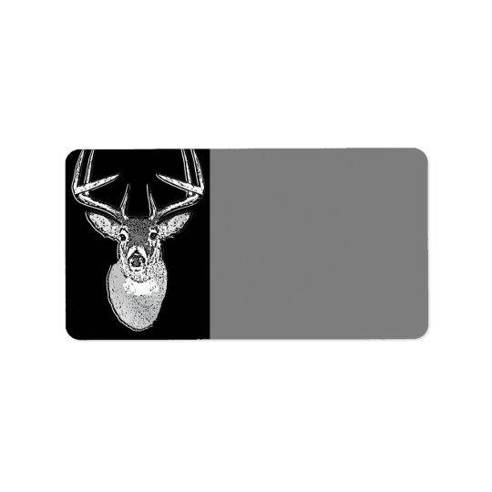 Buck on Black design White Tail Deer Label