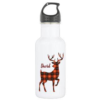 Buck Silhouette Deer in Buffalo Plaid 532 Ml Water Bottle