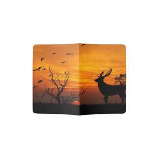 Buck silhouetted against a setting sun passport holder