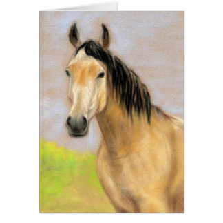 """Buck Skin Horse"" Pastel Art Greeting Blank Card"
