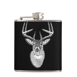 Buck trophy on Black White Tail Deer Flasks