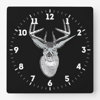 Buck trophy on Black White Tail Deer on a Square Wall Clock