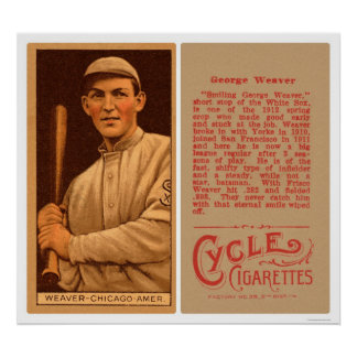 Buck Weaver White Sox Baseball 1912 Poster