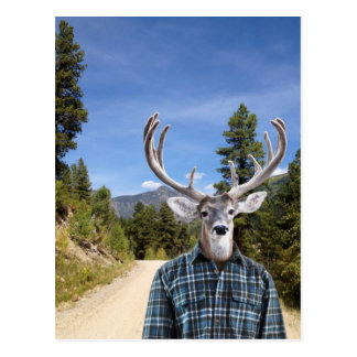 Buck with Antlers Wearing Blue Plaid Shirt Postcard