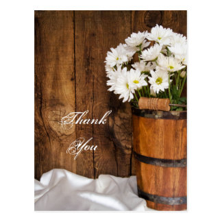 Bucket and White Daisies Country Wedding Thank You Postcard