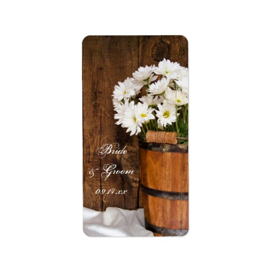 Bucket of White Daisies Country Wedding Favour Tag Address Label