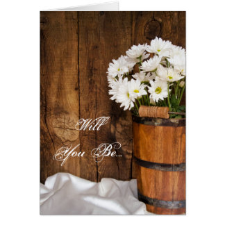 Bucket of White Daisies Will You Be My Bridesmaid Card