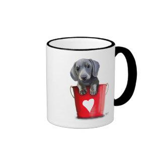 Buckets of Love Dachshund Puppy Ringer Mug