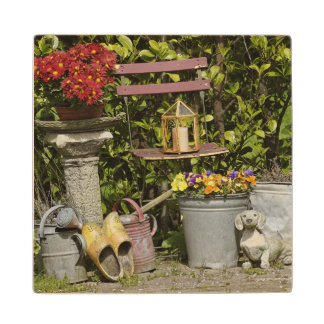 Buckets, shoes, and flowers, Zaanse Schans, Maple Wood Coaster
