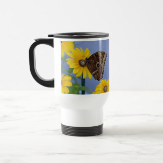 Buckeye Butterfly on Yellow Daisy Stainless Steel Travel Mug