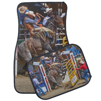 Bucking Bronco Breaking Out at Rodeo Auto Mats Floor Mat