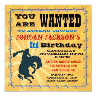 "Bucking Bronco Cowboy Birthday Party Invitaiton 5.25"" Square Invitation Card"