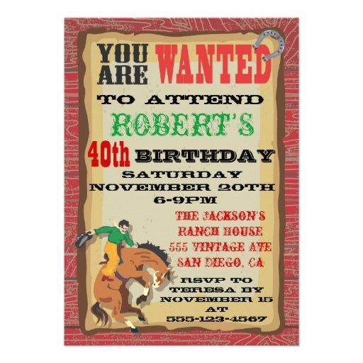 Bucking Bronco Cowboy Birthday Party Poster Custom Invitations