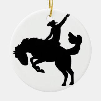 Bucking Bronco Rider Ceramic Ornament