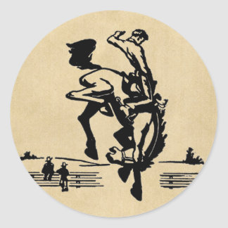 Bucking Bronco Rider Classic Round Sticker