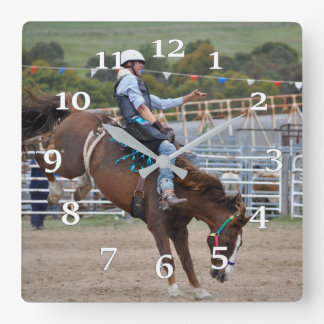 Bucking bronco Rider Square Wall Clock