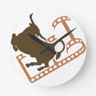 Bucking Bull Film Reel Round Clock